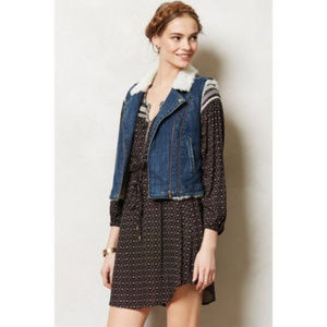 Anthropologie Pilcro Sherpa Denim Moto Vest XSmall